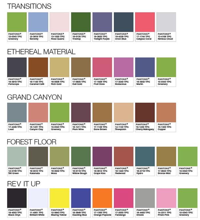 Rysunek 2. Paletki kolorów pasujących do Greenery